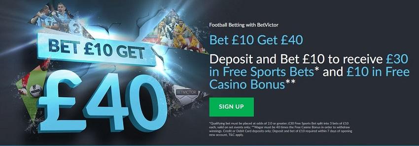 BetVictor bet £10 Get £40